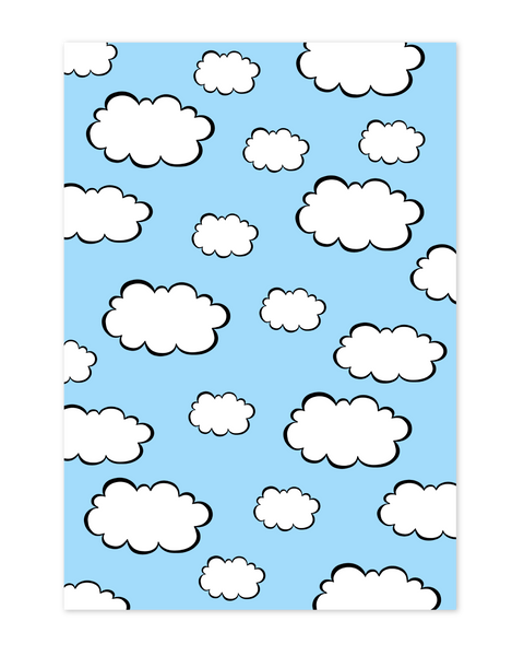 Blue cloud wrapping paper