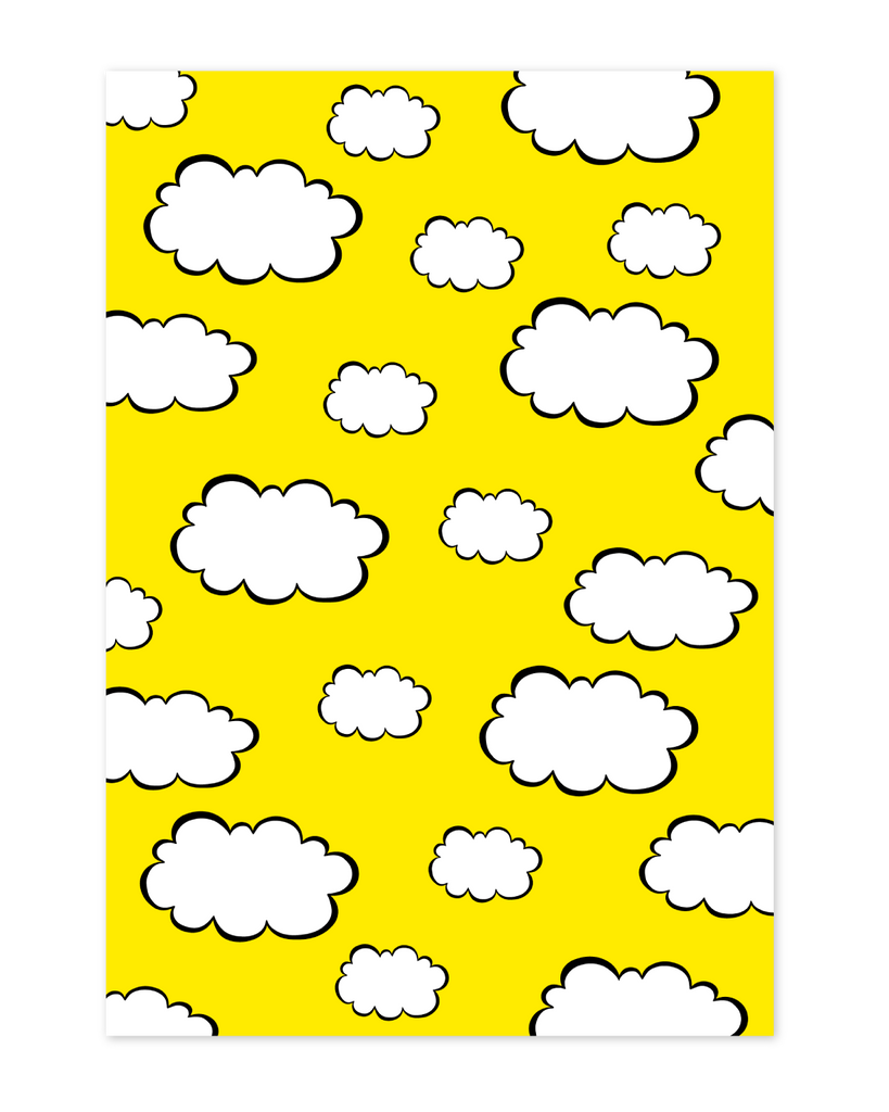 Yellow cloud wrapping paper