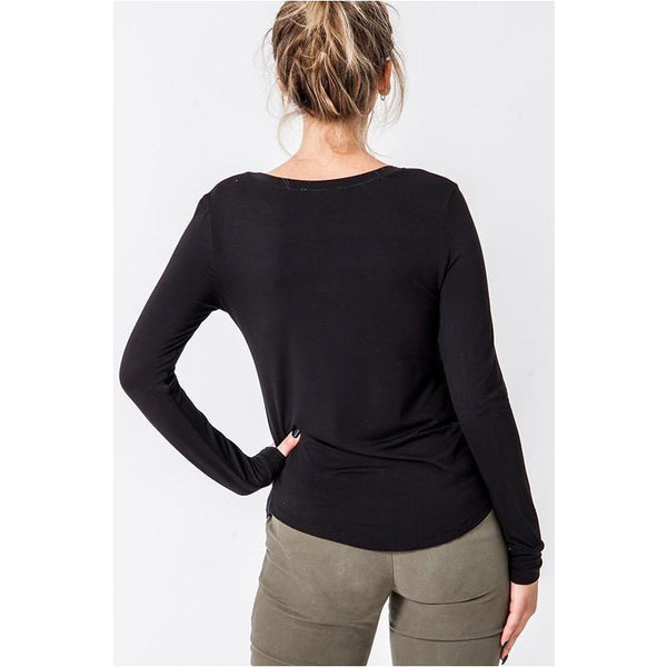 Boat Neck Basic Long Sleeve Top