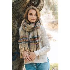 Mohair Striped Blanket Scarf