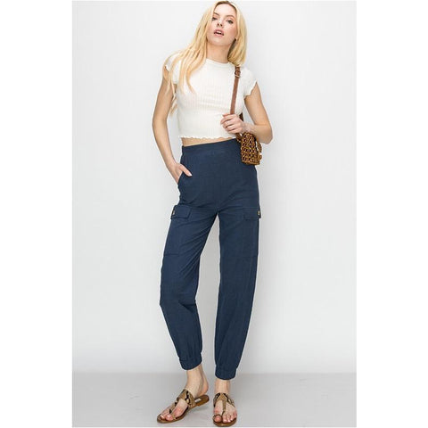 Denim Knit Capris