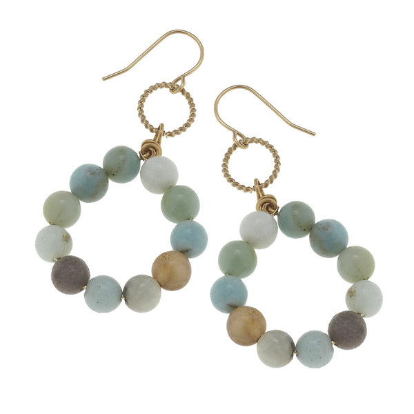 Canvas Beaded Gemstone Circle Earring