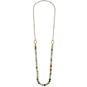 Canvas Beaded Gemstone Layering Necklace - A Little Bird Boutique
