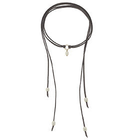 Canvas Hammered Ring Leather Wrap Choker