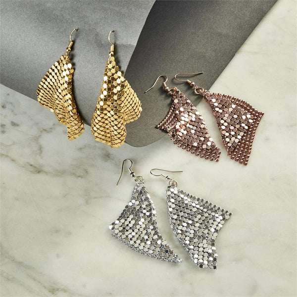 Metallic Mesh Dangle Earrings