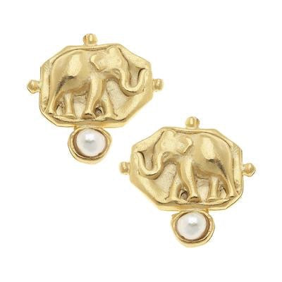 Elephant and Pearl Intaglio Earrings