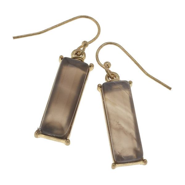 Canvas Gemstone Bar Earrings