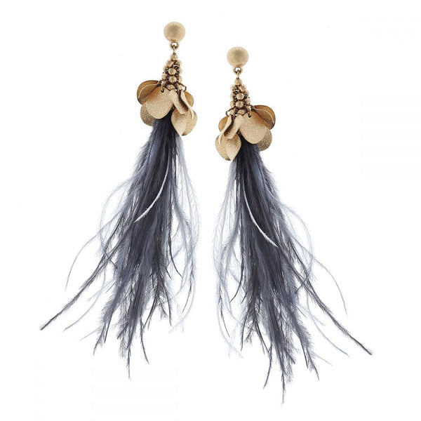 Canvas-Sparkle Disc Feather Earrings