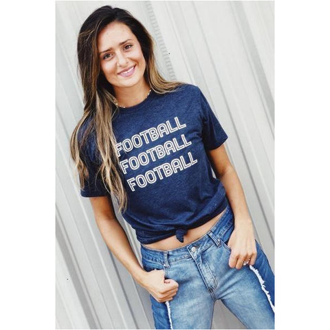 Football x 3 T-shirt in Navy