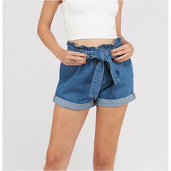 Paperbag Waist Denim Shorts