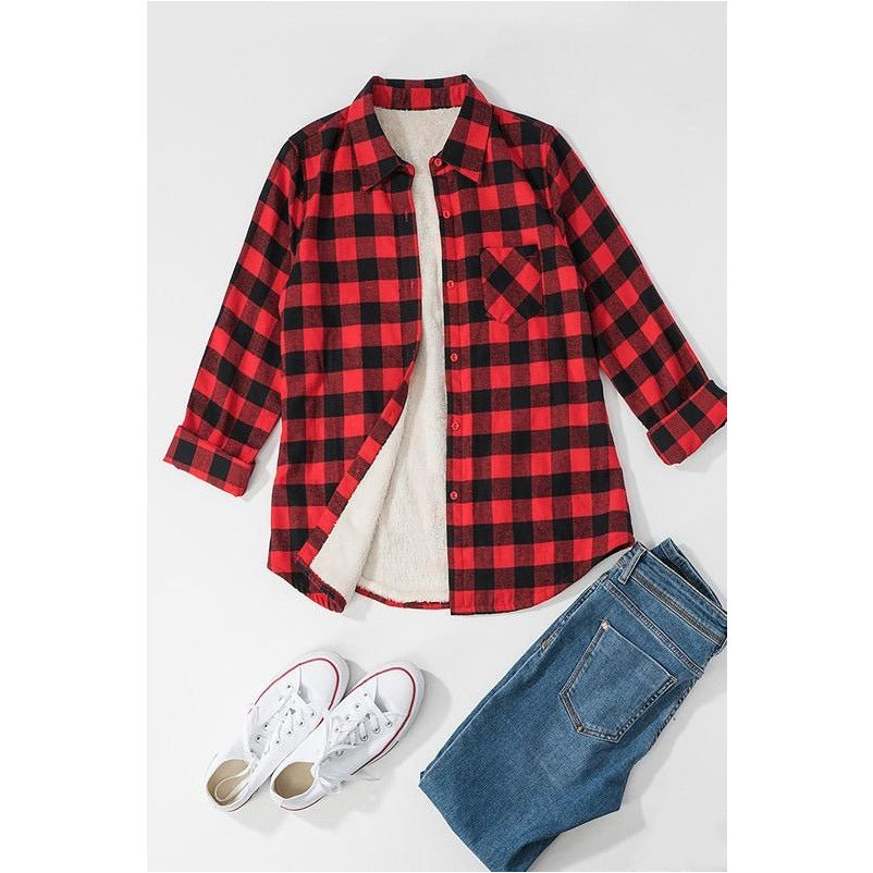 Big Plans Flannel Shirt Jacket in Red Buffalo Check
