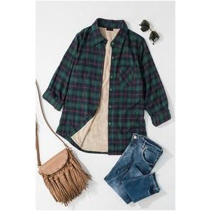 Big Plans Flannel Shirt Jacket in Green Plaid