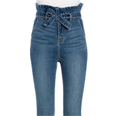High Rise Paper Bag Straight Leg Jeans
