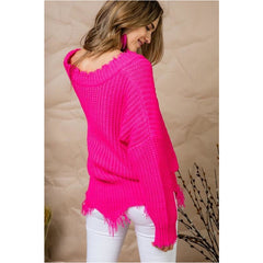 If It Makes You Happy Sweater in Neon Fuchsia