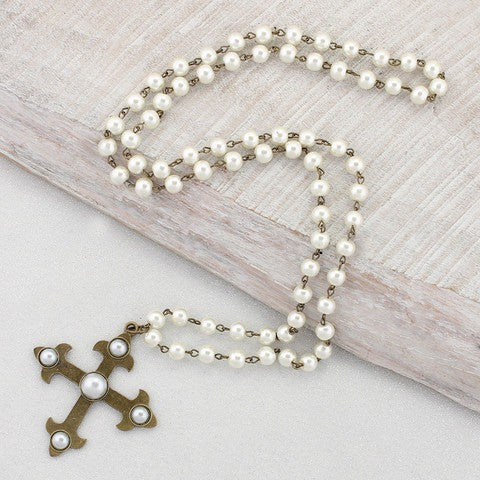 Pearl Chain Necklace with Vintage Cross - A Little Bird Boutique