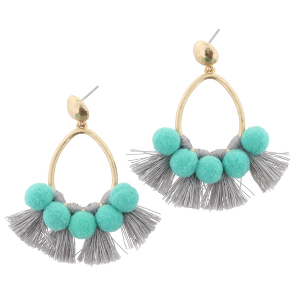 Jane Marie Turquoise Pom Pom Earrings