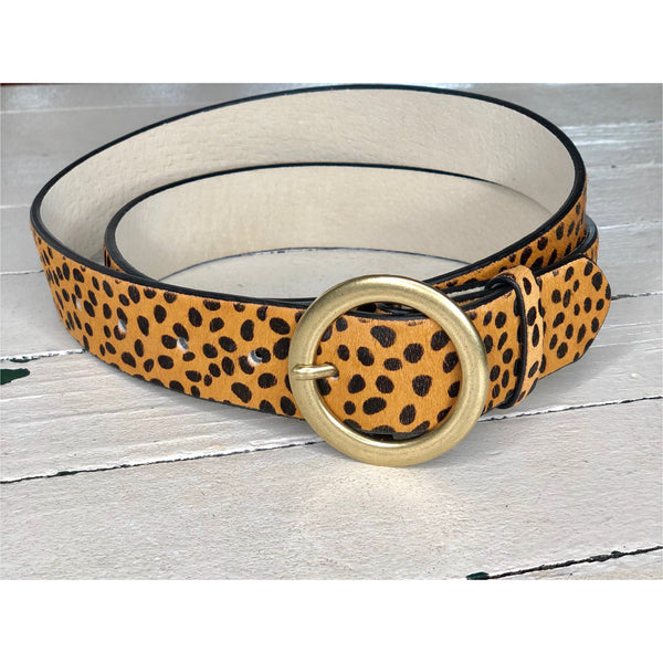Cheetah Leather Belt
