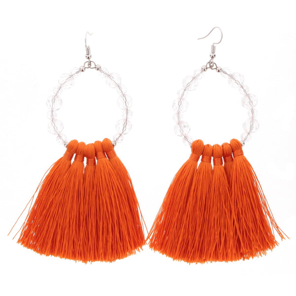 Jane Marie Tassel and Bead Earrings in Orange