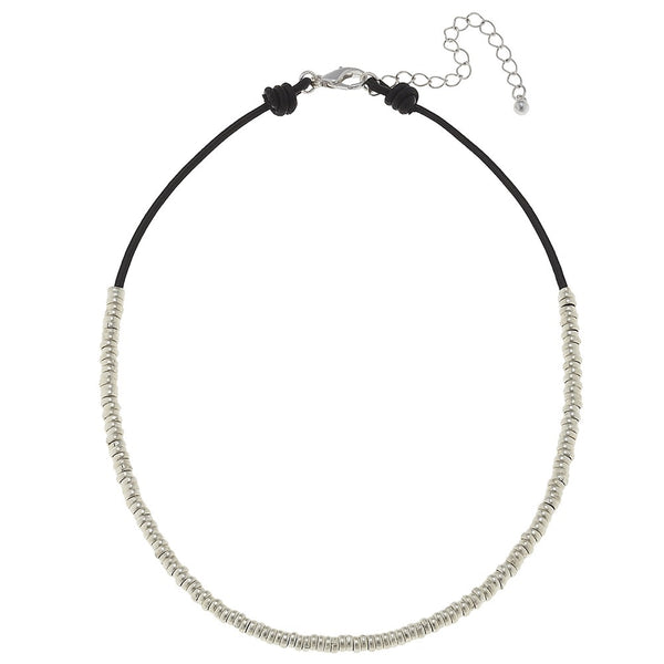 Delicate Silver Bead and Leather Choker by Canvas