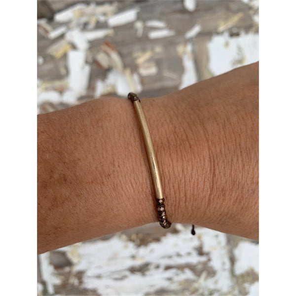 Canvas Gold Bar and Brown Beaded Adjustable Bracelet
