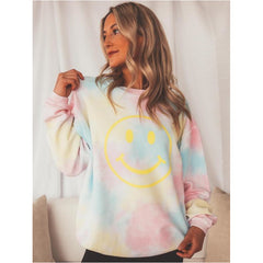 Smiley Tie Dye Cord Sweatshirt