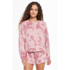 Z Supply Sleep Over Tie Dye Pullover in Violet Ash