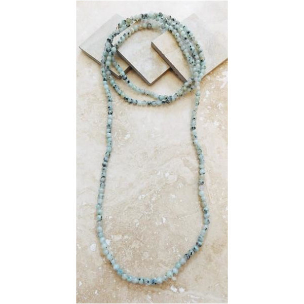 Long Agate Bead or Crystal Necklaces