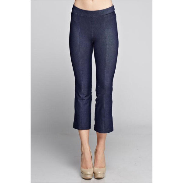 Denim Knit Capris - A Little Bird Boutique  - 1