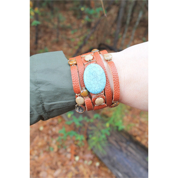 Jane Marie Wide Leather and Stone Bracelets - A Little Bird Boutique  - 2