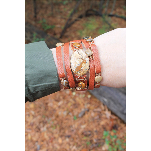 Jane Marie Wide Leather and Stone Bracelets - A Little Bird Boutique  - 3