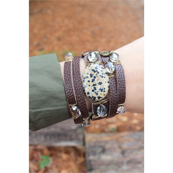 Jane Marie Wide Leather and Stone Bracelets - A Little Bird Boutique  - 4