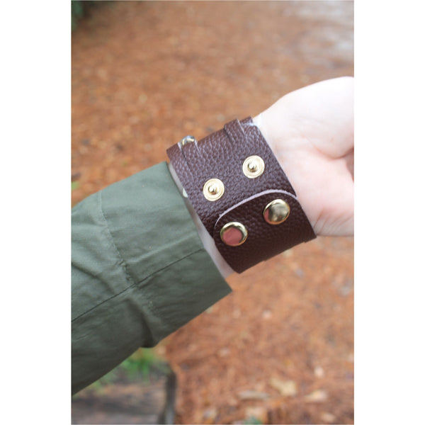 Jane Marie Wide Leather and Stone Bracelets - A Little Bird Boutique  - 5