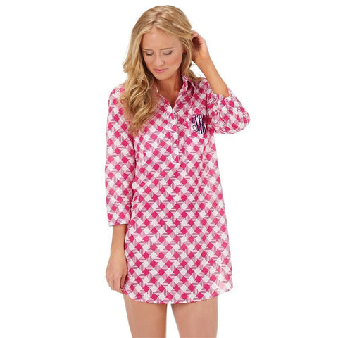 Pink Checked Shirtdress