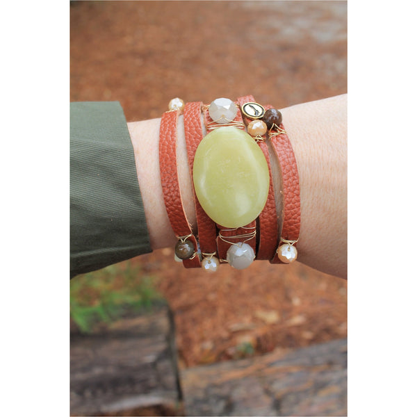 Jane Marie Wide Leather and Stone Bracelets - A Little Bird Boutique  - 6