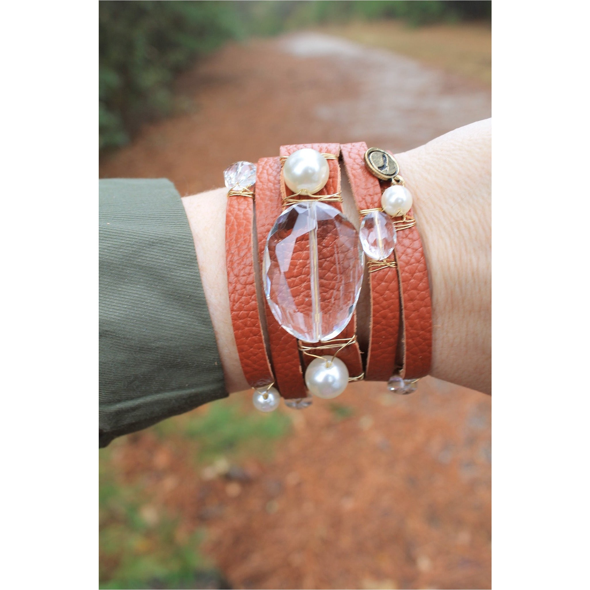 Jane Marie Wide Leather and Stone Bracelets - A Little Bird Boutique  - 1