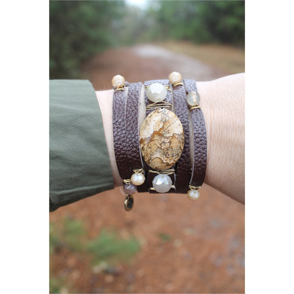 Jane Marie Wide Leather and Stone Bracelets - A Little Bird Boutique  - 8