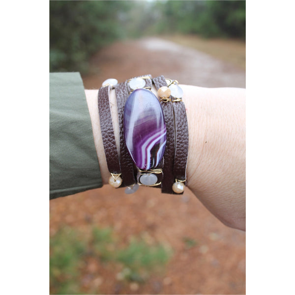 Jane Marie Wide Leather and Stone Bracelets - A Little Bird Boutique  - 9