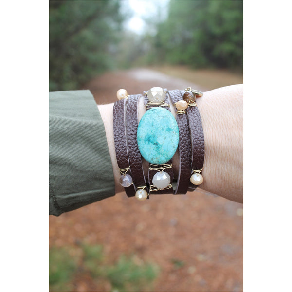Jane Marie Wide Leather and Stone Bracelets - A Little Bird Boutique  - 10