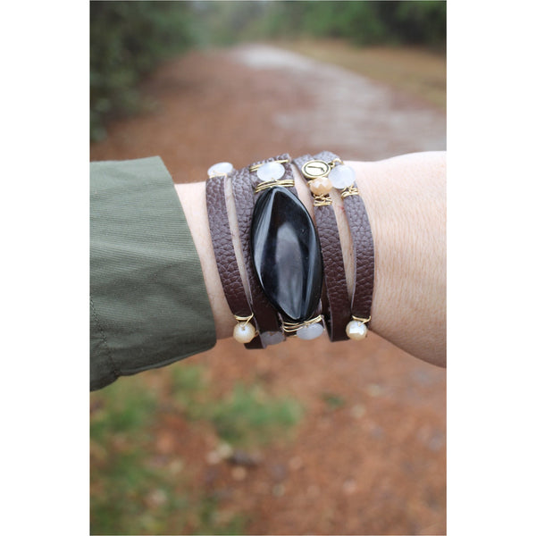 Jane Marie Wide Leather and Stone Bracelets - A Little Bird Boutique  - 11