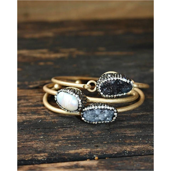 Jane Marie Pearl and Druzy Pave Bracelets