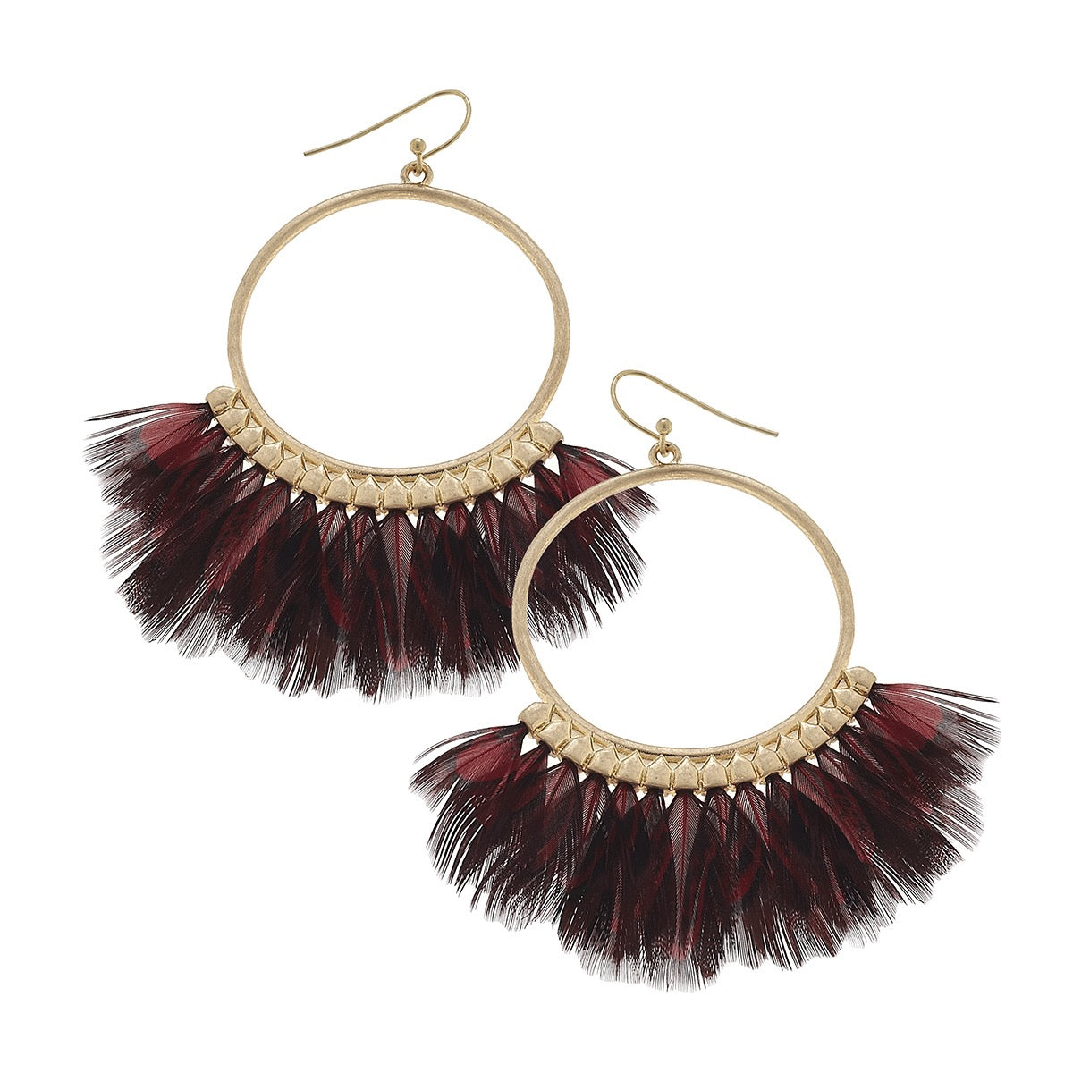Canvas Feather Hoop Earrings