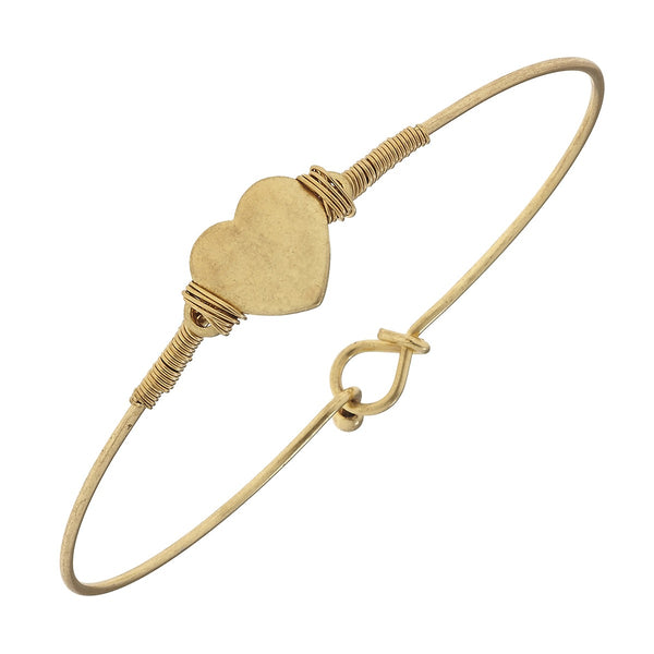 Canvas Gold Heart Wire Bracelet