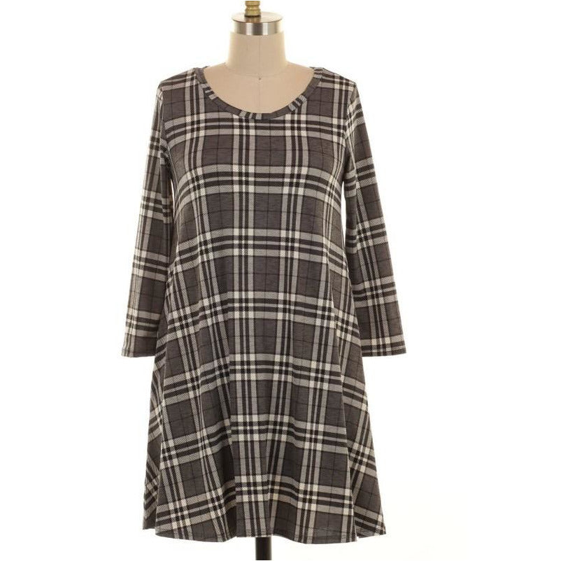 Gray Days Plaid Dress