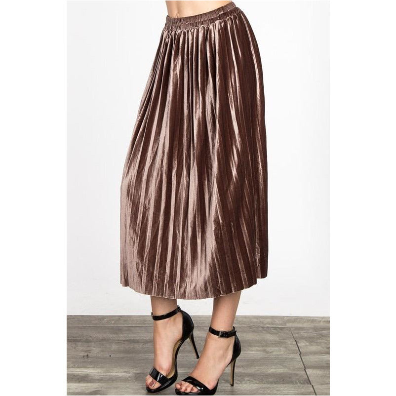 Rich Velvet Pleated Skirt