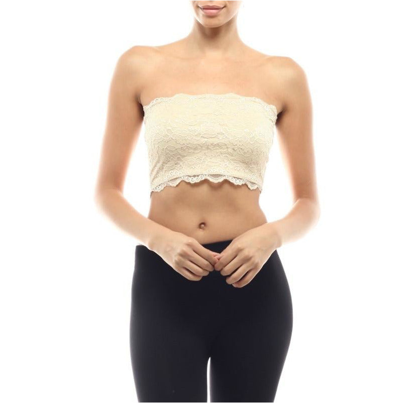 Ivory Lace Bandeau Bra - A Little Bird Boutique