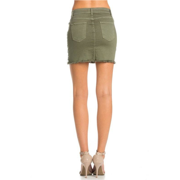 Distressed Olive Denim Skirt