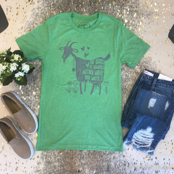 Jane Marie Grass Is Greener Goat Tee