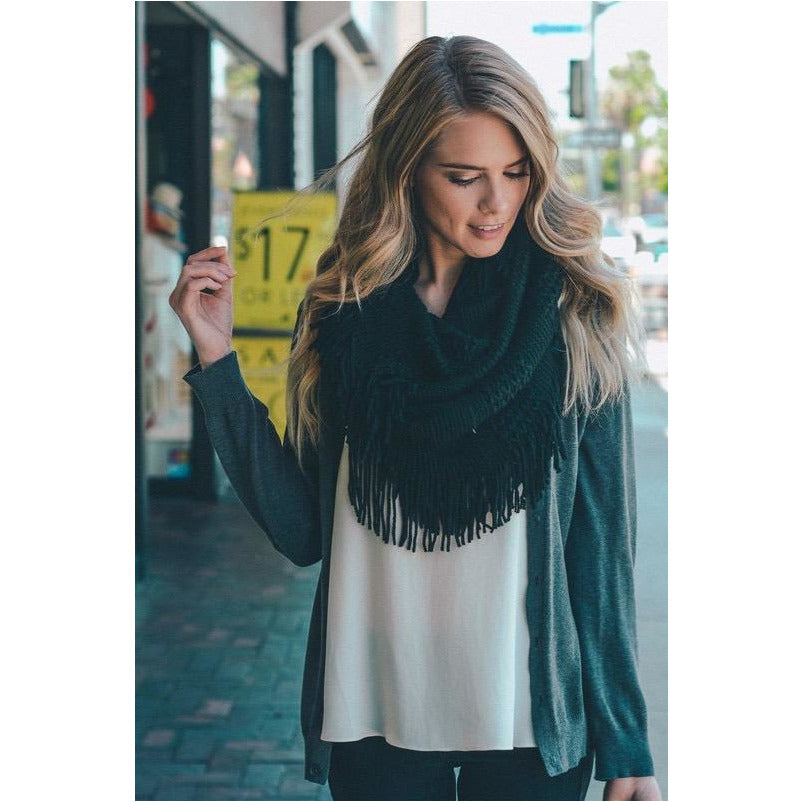 Pointelle Fringe Scarves