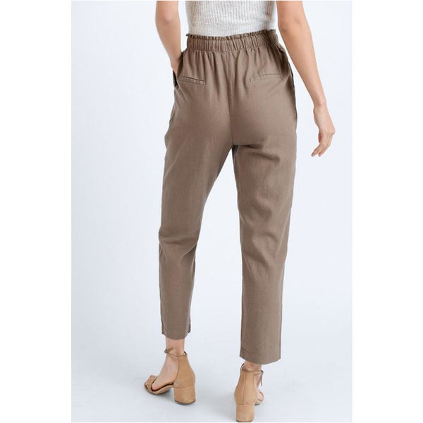 High Waist Linen Drawstring Pants In Khaki