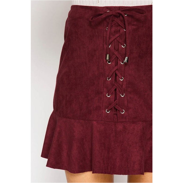 Stitched Up Suede Skirt